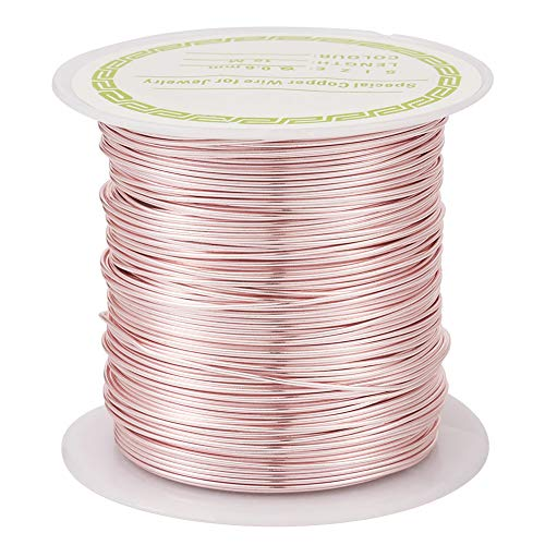 Pandahall 60 Feet Tarnish Resistant Copper Wire 22 Gauge Jewelry Beading Craft Wire for Jewelry Making (Rose Gold)
