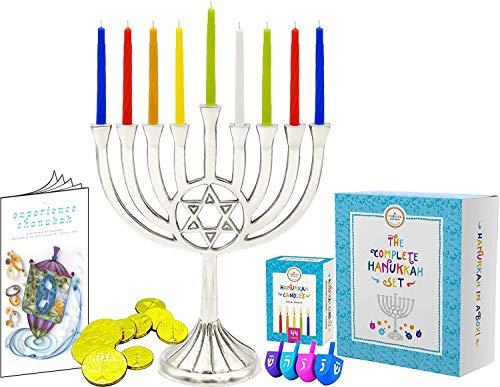 Complete Hanukkah Menorah Set - 1 Full Size 9' Menorah, 45 Multicolored Candles, 4 Multicolored Painted Wood Dreidels, 10 Chocolate Belgian Coins Gelt, 12 Full Color Page Comprehensive Chanukah Guide