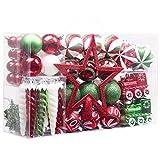 Valery Madelyn 100 Piezas Bolas de Navidad de 3-8cm, Adornos Navideños para Arbol, Decoración de Bolas de Navidad de Plástico Rojo Blanco y Verde, Regalos de Colgantes de Navidad (Coleccion Clasica)