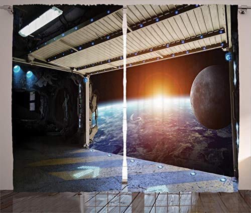 """Ambesonne Outer Space Curtains, Earth Scene from a Space Plane Runway Gate Globe Galaxy up to Stars Picture, Living Room Bedroom Window Drapes 2 Panel Set, 108"""" X 108"""", Cream Black"""