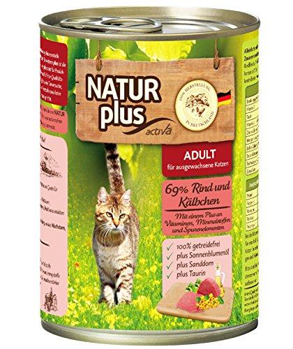 Natur Plus Katzenfutter ADULT mit 69% Rind & Kälbchen (getreidefrei) - 6 x 400 g