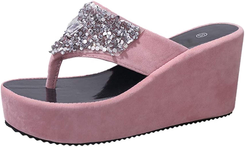 U-MAC Rhinestone Sparkling Wedge Platform Sandals for Women Thong Sexy Soft Slip On Slippers Fashion Summer Outdoor Walking Dress shoes