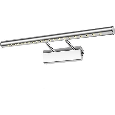Lightess Lampe Salle de Bain Mirroir LED 5W Applique Murale Lumière Tableau Étanche IP44 Réglable 180°avec Interrupteur en Acier Inoxydable Éclairage Décoration Meuble WC Toilette Maquillage 40cm