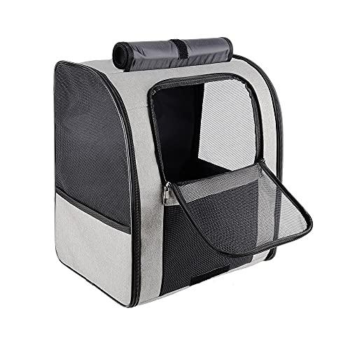MH-RING Mochila para Mascotas Plegable,Porta Gatos de Lados Suaves con Correa de Seguridad Interior Mochila para Gatos de Diseño Cómodo y Ventilada (Color : Grey)