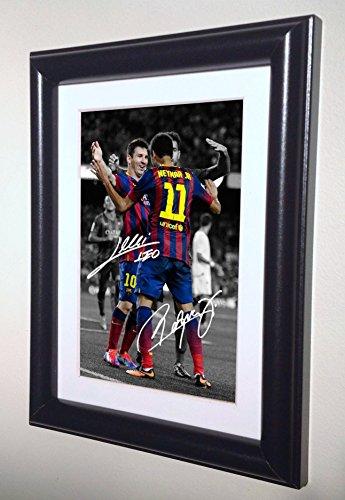 Signed Black Soccer Lionel Messi Neymar Jr Barcelona Autographed Photo Photograph Picture Frame Gift SM