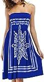 Zyyfly Women's Strapless Floral Print Bohemian Beach Cover-up Dress Tube Top Sundress Sapphire