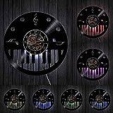 Pianista, Artista Musical, Estudio, habitación, decoración de Pared, Reloj Retro, Piano, Arte de Pared, Vinilo, Reloj de Pared con LED