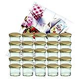 """MamboCat - 25 vasetti di vetro per marmellate e conserve 125 ml con tappo a vite da 66 mm in omaggio un libro di ricette """"Gelierzauber"""" di Diamant-Zucker (lingua italiana non garantita)"""