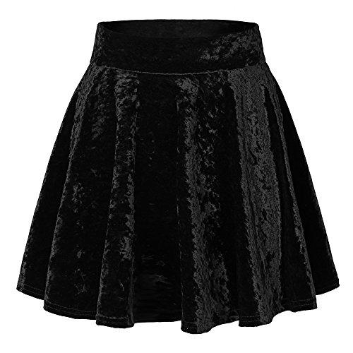 urban GoCo Mini Falda Elástica Patinadora de Terciopelo de Retro (M, 2 Negro)