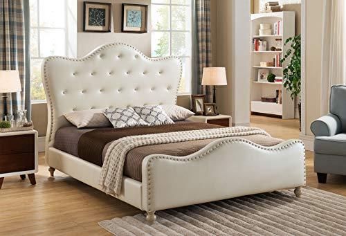 Best Master Furniture Angela Upholstered Tufted Faux Leather Platform Bed, Twin, Ivory