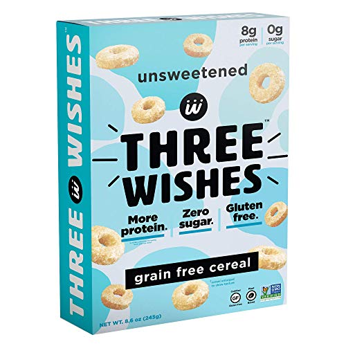 Three Wishes Cereal - Breakfast Cereal - High Protein - Sugar Free - Gluten Free - Grain Free - Dairy Free - Plant Based - Vegan Snack Cereal - Non GMO - Unsweetened 1 Pack