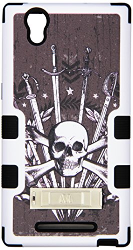 Asmyna TUFF Hybrid Protector Cover with Stand for ZTE Z970 ZMAX - Retail Packaging - Sword and Skull/Black