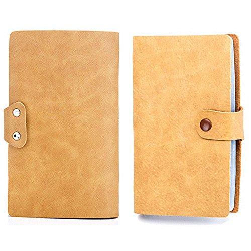 【THEBEST】カードケース 牛革 大容量 90枚収納 カードファイル 手帳型 マルチケース 名刺入れ カードケース 名刺入れ クレジットカードケース イエロー