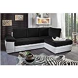 Canapé d'angle gigogne Convertible rapido SINOPE en bi matière Noir et Blanc méridienne Droite