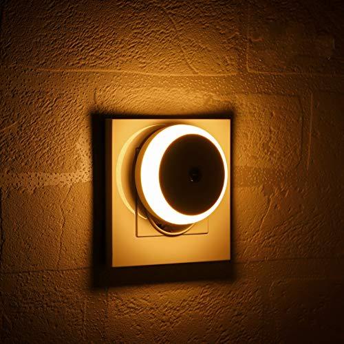 Luce Notturna LED, Con Sensore Crepuscolare, Luce Diffusa, Classe di Efficienza Energetica A, Luce Notturna per Camera da Letto, Bagno, Corridoio, Scale, Camera dei Bambini, Bianco Caldo, 2 Pezzi