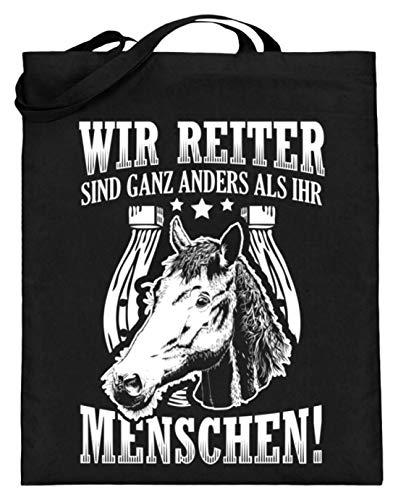 Chorchester Für Reiter Pferde Fohlen Und Pony Fans - Jutebeutel (mit langen Henkeln) -38cm-42cm-Schwarz