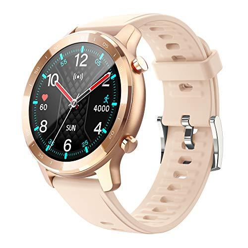 MISIRUN Smartwatch, Orologio Fitness Tracker Uomo Donna Smartwatch Sonno Cardiofrequenzimetro, Impermeabile IP67 Aciticity Tracker con Notifiche Messaggi Controller Musicale per Android iOS (Oro)