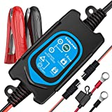 ULTRAPOWER 6V/12V Battery Bharger and Maintainer,1.5A Automatic Intelligent Charger,Trickle Charger,Floating Charger,Suitable for Cars,Motorcycles,Tractors,ATV,AGM,Gel Battery Lead-Acid Battery(BLUE)