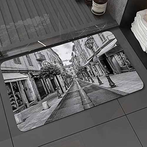 Alfombra de baño y Alfombra antideslizanteCalle Sett Old Town Antibes Francia Callejón Digital Arquitectura Vintage Arcada CiudadAlfombrilla de Ducha de Microfibra (50x80cm)