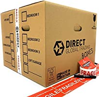 10 Strong Extra Large Cardboard Storage Packing Moving House Boxes Double Walled with Carry Handles and Room List...