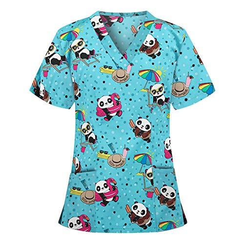 UNHU Arbeitskleidung Pflege Damen V-Ausschnitt Schlupfhemd Kasack Blumendruck Kurzarm T-Shirts Tops Berufskleidung Krankenpfleger Uniformen mit Taschen (XXL, Weiß)