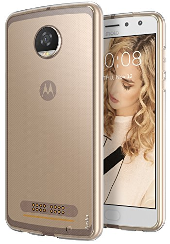 Moto Z2 Play Case, Aeska Ultra [Slim Thin] Flexible TPU Gel Rubber Soft Skin Silicone Protective Case Cover for Motorola Moto Z2 Play (Clear)