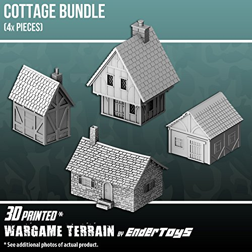 Cottage Bundle, Terrain Scenery for Tabletop 28mm Miniatures Wargame, 3D Printed and Paintable, EnderToys