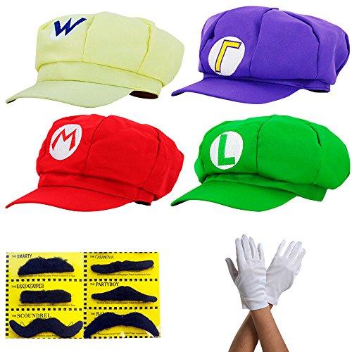 thematys Super Mario Mütze Luigi Wario Waluigi - Kostüm-Set für Erwachsene + 4X Handschuhe und 6X Klebe-Bart - perfekt für Fasching, Karneval & Cosplay - Klassische Cappy Cap