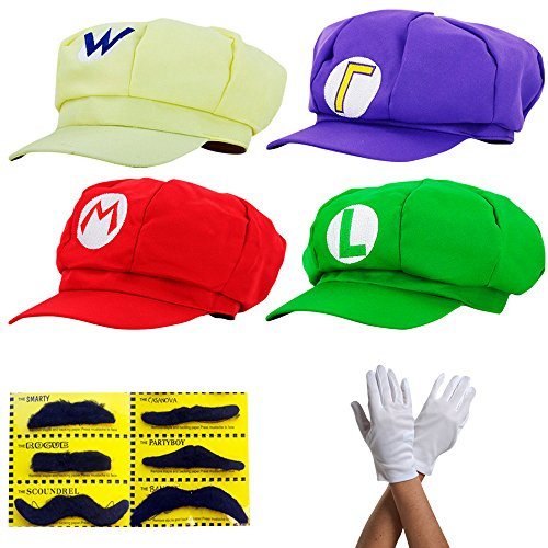 Super Mario Gorra Luigi Wario Waluigi - Conjunto de Disfraces para Adultos y nios + 4X Guantes y 6X Barba pegajosa Carnival & Cosplay - Classic Cappy Cap