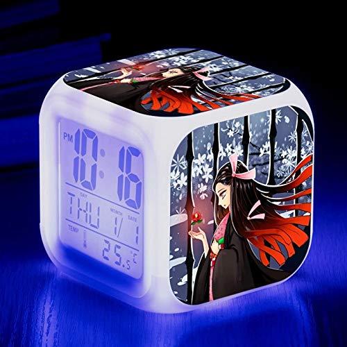 fdgdfgd La Puerta de la Estufa Animada Tanjiro imprimió el Escritorio de la luz del Color del Tacto del LED con el Reloj de Alarma de la Fecha del termómetro