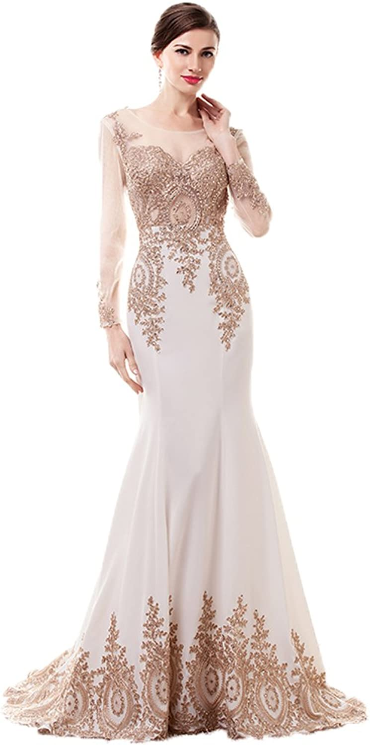 Anna's Bridal Women's Mermaid Embroidery Evening Dresses with Long Sleeves Prom Gowns