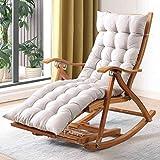 Productos para el hogar Mecedora reclinable Silla reclinable plegable de madera de 5 velocidades Silla reclinable ajustable de bambú para patio Silla reclinable de gravedad cero con acolchado Max.