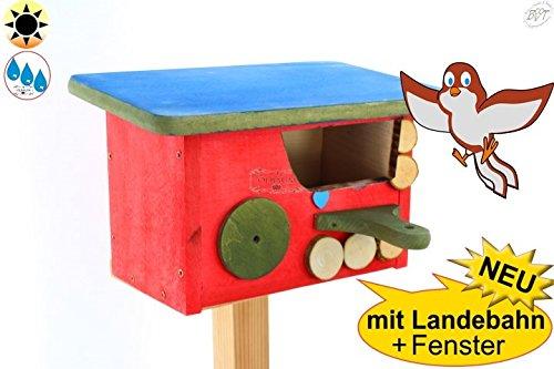 BTV Ölbaum XL Nistkasten Bayern-Design, Halbhöhle mit Öffnung ca. 50 x 80 mm für Rotkehlchen, Zaunkönig, Amsel, auch als Schutzhütte Nistplatz, ROT LASIERT MIT LANDEBAHN und Dach in hellblau, ca.