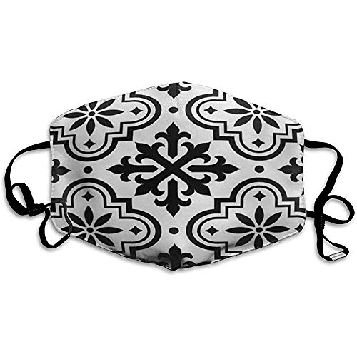FANCYDAY Mond Maskers, Multifunctionele Maskers-Mozaïek Spaans Patroon Marokkaanse Tegels Zwart En Azulejo Vloer Portugees