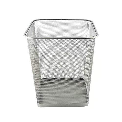 D.RECT Papierkorb aus Drahtgeflecht | Abfalleimer | Drahteimer | Büro Mülleimer | Papiereimer, Büroeimer Mesh eckig 18L silber