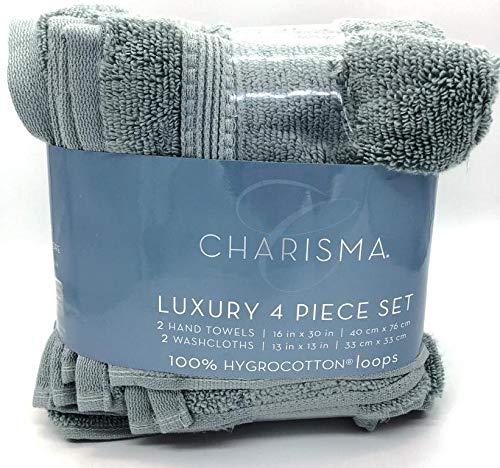 Charisma Luxury 4 Pieces Set, 2 Hand Towels 2 Washcloths . Color is: Aloe