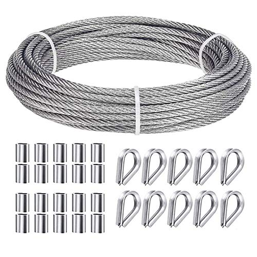 Ruesious Juego de suspensión de cable de acero inoxidable, cable de nylon 304 recubierto de alto rendimiento, collarines de acero inoxidable M2 304, con enchufes de engarce de aluminio