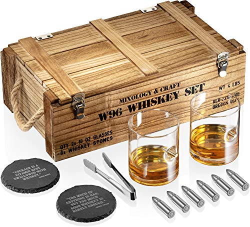 Whiskey Stones Gift Set for Men | Whiskey Glass and Stone Set with Wooden Army Crate, 6 Stainless Steel Whiskey Bullets and 10oz Whiskey Glasses | Whiskey Lovers Gift For Men, Dad, Husband, Boyfriend