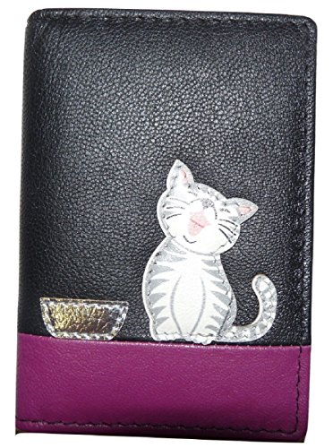 Mala Leather Oyster Train ID 629 99 - Tarjetero de piel con diseño de gato, Black (Negro) - unknown