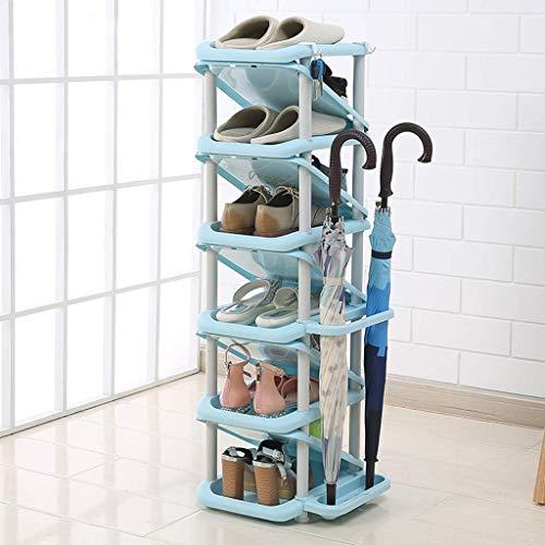 JF-XUAN Zapatero multi-capa simple montaje ahorro de espacio del hogar dormitorio Puerta multifunción baño zapatero de almacenamiento en rack rack de zapato azul 28x32x101cm
