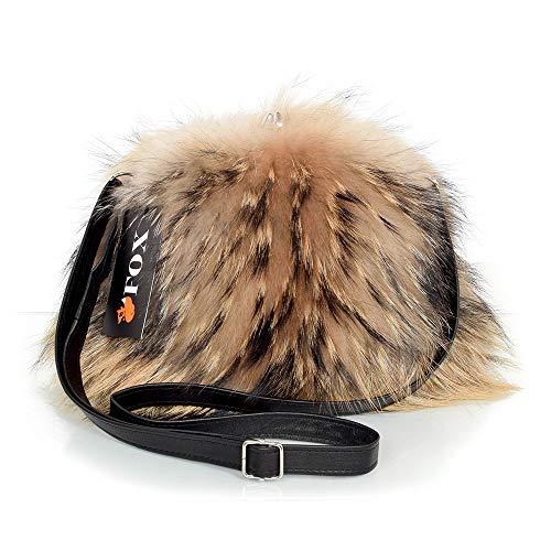 FOX FASHION Damen Umhängetasche mit Bügel aus Finnraccoon Fell Handtasche Raccoon Fell Pelz Fuchs Tasche Waschbär Pelztasche Echtfell Felltasche Echt