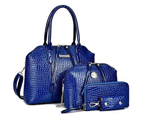 GJGJTER Bolso de mano para Mujer, Cuero Sintético de PU, Carteras de mano y clutches, Conjunto de 4 piezas, Shoppers y bolsos de hombro-Azul