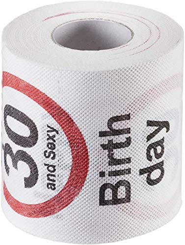 KMC Austria Design Geburtstag Toilettenpapier mit Aufdruck Verkehrszeichen Happy Birthday 30 and Sexy - Klopapier WC-Papier