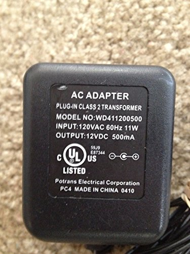 Potrans AC Adapter Power Supply 12VDC 500mA Model: WD411200500 & 110-100-0095