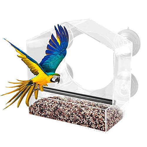 Vogelhaus Fenster,Vogelfutterspender Vogelfutterhaus Vogelhaus Fensterscheibe Futterstation mit Dach und saugnapf,Futterautomat für Kleine bis Mittelgroße Vögel,Transparent (20x10x21cm)