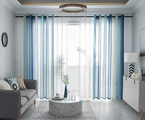 FY FIBER HOUSE Sheer Curtains 95 Inches Long Windows Curtain Sheer Voile Panels Grommets for Living Room Dining Room Set of 2 52Wx95L Inch Gradient Blue/ Multicolor