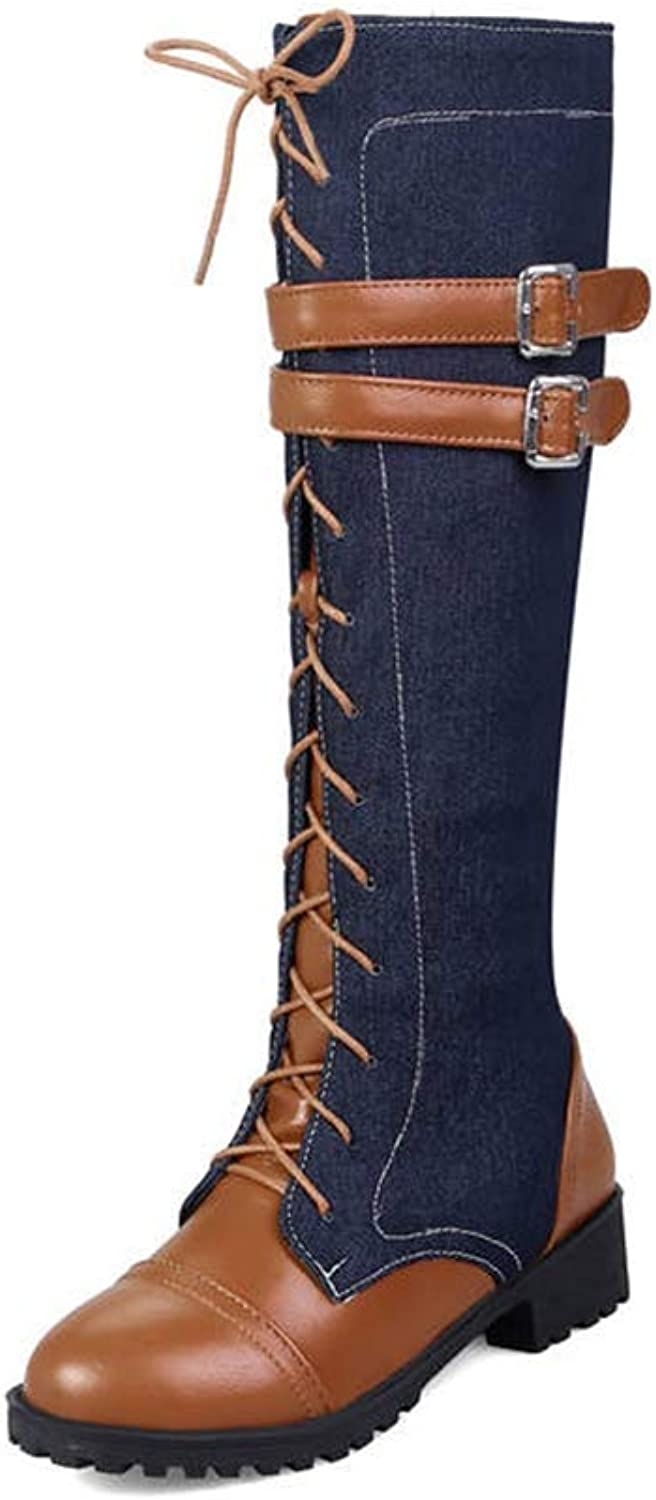Webb Perkin Women Denim Low Heel Boot Round Toe Zipper Winter Casual shoes Lady Knee High Boots
