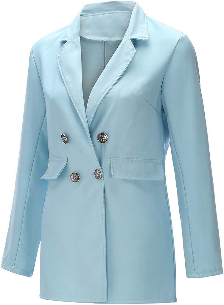 MERICAL Blazer Lang Damen Tailliert Vorne Offen Cardigan Blazerjacken Office Kleid Langarm Mantel Blau