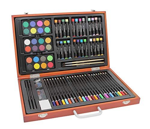 Meister 78-delige kunstenaarsset/schilderset in houten koffer, kleurpotloden, waterverf, oliepastelkrijtjes en veel accessoires