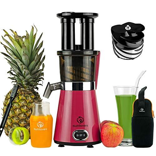 Nutrilovers Slow Juicer Obst & Gemüse | BPA-Frei - Entsafter mit Slow Juice Glastrinkflasche, Reinigungsbürste + Rezepte eBook